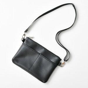 サコッシュ メンズ ボディバッグ PUレザー ショルダー かばん 鞄 シンプル モノトーン モード/ab0165/ブラックF