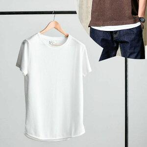 Tシャツ メンズ 接触冷感×NANOTEC(R)半袖ロング丈Tシャツ カットソー 涼しい 夏物 無地/tt1451/全2色S〜XXL