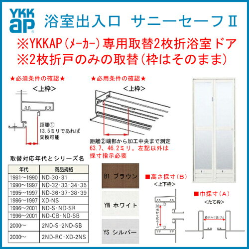 浴室ドア 旧YKKap専用 2枚折戸ドアのみ取替 サニセーフII Sタイプ 取替障子ABC 幅510-850mm 高さ15...