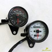 バイク用スピードメーターカスタム3連LEDブラックボディー機械式汎用160kmモンキーTWエストレアSR等