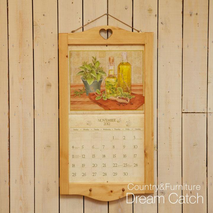 [カントリー雑貨] 木製カレンダーフレーム(カレンダー 額) フレーム アンティーク デザイン家具 パイン材 [完成品]木製 ナチュラル カントリーテイスト フレンチカントリー モダン 無垢