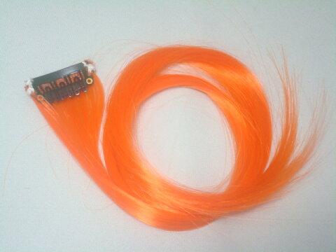 メール便送料無料 ワンタッチ メッシュカラーエクステ ポイントメッシュ オレンジ 2本セット 橙 ウィッグ・エクステ・エクステンション・つけ毛・コスプレ