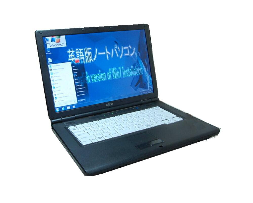 90日保障 貴重!英語版WINDOWS 7 Professiona 選べます FUJITSU A8290 英語キーボード互換配列 セルロン900 2.20G DVD鑑賞 英語ソフトに最適【中古】