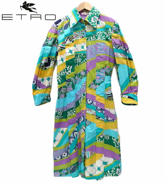 【ETRO】エトロ シャツ ワンピース size42 グリーン カラフル 緑 紫 女性 レディース 【中古】