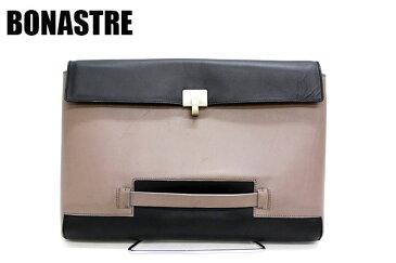 【BONASTRE】ボナストリ クラッチバッグ セカンドバッグ PCバッグ レザー 革 ブラック×グレー 【中古】