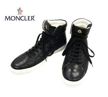【Moncler】モンクレール ハイカット スニーカー レザー ワンポイントロゴ スタイリッシュ ブラック 未使用 サイズ43 イタリア製 RC0105【中古】
