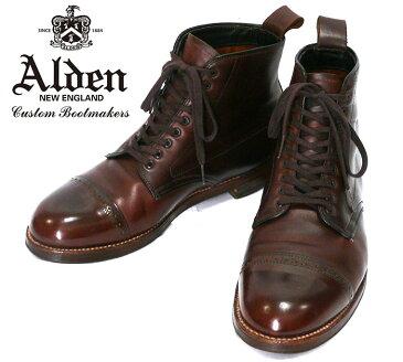 【ALEDN × Leather Soul】オールデン レザーソウル パンチドキャップブーツ サイズ7D 約25cm ブラウン 本革 メンズ 男性用 箱、保存袋付 RC0919 【中古】