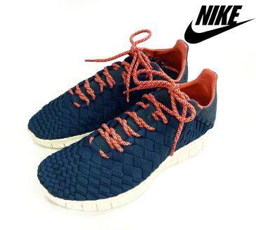 【NIKE】ナイキ スニーカー フリーイネバ ウーブン ネイビー×ピンク シューズ 靴 サイズ26.5センチ メッシュ メンズ RM0220【中古】