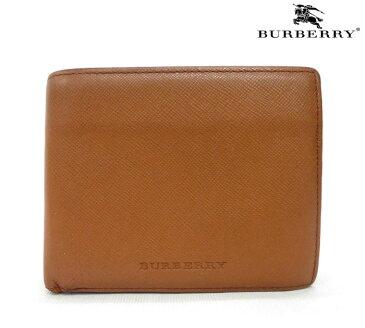 【BURBERRY】 バーバリー レザー 二つ折り財布 メンズ レディース ブラウン【中古】