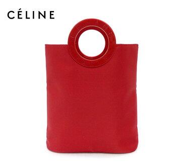 【CELINE】セリーヌロゴサークル ナイロンハンドバッグ レッド 赤 良品【中古】FA0351
