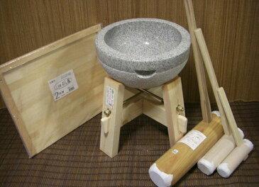 餅つき道具 二升用臼 木台・杵L・子供用キネ大小2本・二升用のし板セット
