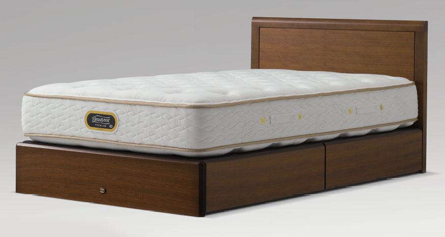 シモンズベッドsimmonsコンサバティブシリーズ アーグ フラット flat シンプル 省スペース クイーン・ワイドダブル 引き出しタイプ・ドロアー ベッド下収納 ダークブラウン 送料無料 日本製 マットレス付き