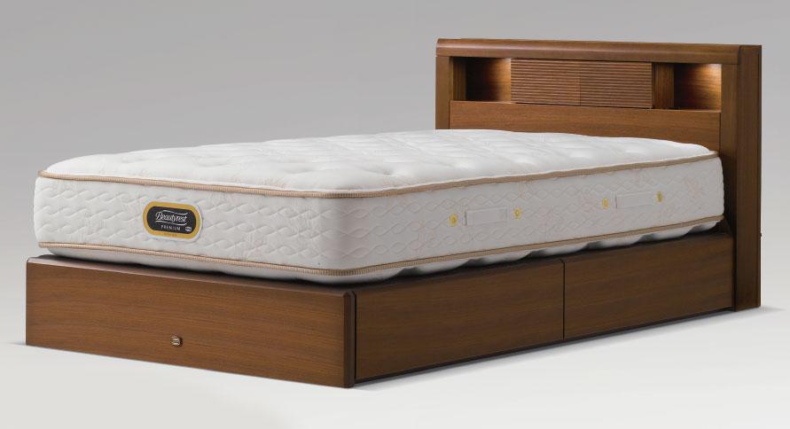 シモンズベッドsimmonsコンサバティブシリーズ クイーン・ワイドダブル アーグシェルフ2 引き出しタイプ・ドロアー ベッド下収納 ダークブラウン 送料無料 日本製 マットレス付き