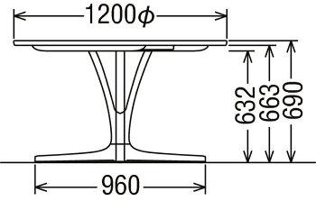 カリモクDU4401/120cm円形ダイニングテーブル/サークル食卓丸テーブル/配膳台/食事机/テーブルのみ/オーク材/楢材/ナラ/送料無料/日本製家具