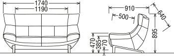 カリモクUU4612/2人掛け椅子ロング/2P布ファブリックソファ/肘掛椅子/ハイバック/ラブソファ