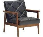 カリモクWS1180BW/肘掛椅子1Pソファブラック/合成皮革張チェア/ビンテージ風/レトロ/古風/コンパクト/カリモク60風/カフェ