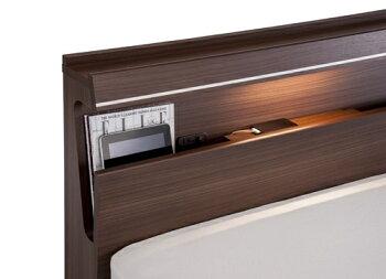 フランスベッドDL-03C/ワイドダブル/ノーマルタイプ・ヘッド棚収納・宮付LED照明/木製/おすすめ/使いやすい/シンプル/ディーレクトス/日本製家具/送料無料/フレームのみ
