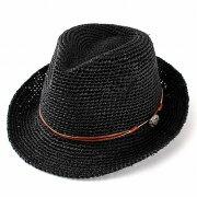 麦わら帽子 ラフィア コンチョ レディース ブラック プレゼント ストローハット おしゃれ ファッション