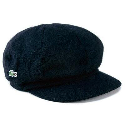 帽子ラコステキャスケットウールメンズキャスケット帽紳士秋冬ベイカーボーイハットワニブランドLACOSTEブラック黒ギフトプレゼン