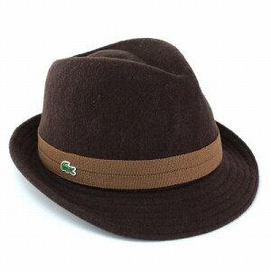 あったかウールバスク素材の中折れ帽子から新色ダークブラウン!帽子 メンズ/LACOSTE ラコステ ...