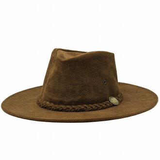 折疊式皮革帽子帽子男裝亨舍爾牛仔帽麂皮絨帽子帽牛仔帽 [HENSCHEL] (秋/冬秋冬季商品帽帽和帽子帽帽子西部牛仔帽西部)
