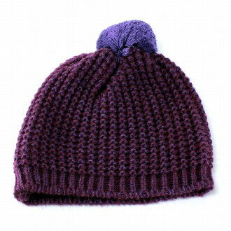 女裝針織帽 Bon Bon 針織女孩 ELLEgirl 埃爾加紫色 (針織帽子針織帽,保暖帽針織時裝流行可愛)