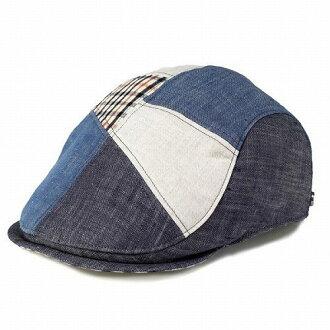 DAKS鴨獵帽帽子人粗斜紋布拼湊細工夏天鴨亞麻材料深藍男性日本製造禮物[ivy cap](獵帽便帽boshi獵帽帽子紳士帽子30幾歲的40幾歲的50幾歲的60幾歲的70幾歲的時裝漂亮的禮物郵購時裝小東西)