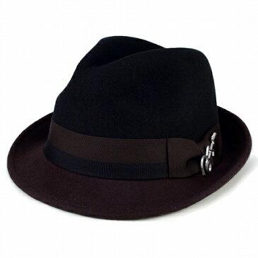 フェルト ハット 帽子 メンズ カルロス サンタナ 2トーン ショートブリム フェドラ ギターバッジ 中折れ ブラック ブラウン フェルトハット フェルト ハット ギフト プレゼント 包装 ブラック ブラウン