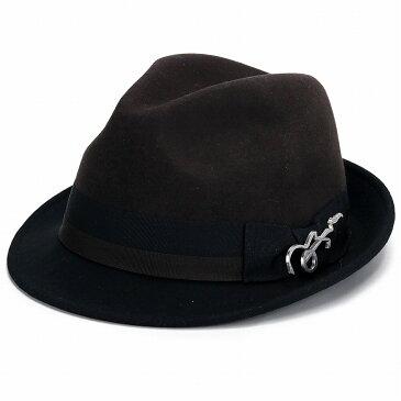 Carlos Santana 帽子 メンズ フェルトハット シンプル カルロス サンタナ ハット 2トーン ショートブリム フェドラ ギターバッジ 中折れハット 紳士 無地 フェルト 中折れ帽 / ブラウン 黒 ブラック [ felt hat ][ fedora ] クリスマス ギフト メンズ 帽子