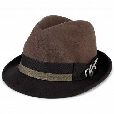 フェルト ハット 帽子 メンズ カルロス サンタナ 2トーン ショートブリム フェドラ ギターバッジ 中折れ トープ ブラウン フェルトハット フェルト ハット ギフト プレゼント 包装