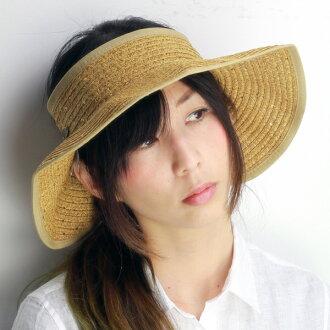 太陽遮陽女士多爾夫曼太平洋帽子遮篷夏天紫外線措施遮陽帽檐寬 UV 措施遮陽珠片帽子佩里度假村裝棕色系列米色土司 [遮陽]