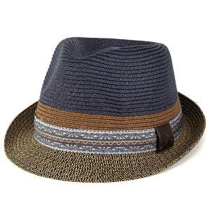 ハット メンズ ストローハット 春夏 麦わら帽子 40代 50代 60代 70代 ファッション ネイティブ Carlos Santana カルロスサンタナ ブランド帽子 ネイティブ柄 ネイビー [straw hat](紳士帽子 麦わらハット ストロー 男性 おしゃれ 通販 ファッション小物 メンズハット) 父の日