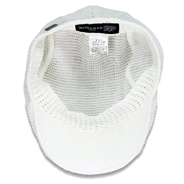 stetson ハンチング 帽子 メンズ 日本製 フリーサイズ ステットソン ハンチング帽 麻ニット 無地 シンプル STETSON アイビーキャップ 人気アイテム 紳士 春夏 カジュアル ブランドロゴプレート / オフホワイト 白 [ ivy cap ]