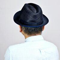 中折れハットシナマイマツイハットメンズ春夏リネン100%日本製MATSUI帽子中折れ紳士大きいサイズ中折れ帽子涼しいMLLL3Lサイズ調整シンプル無地リボンリゾートコーデ海マリン/ネイビー紺[fedora]プレゼントギフト帽子