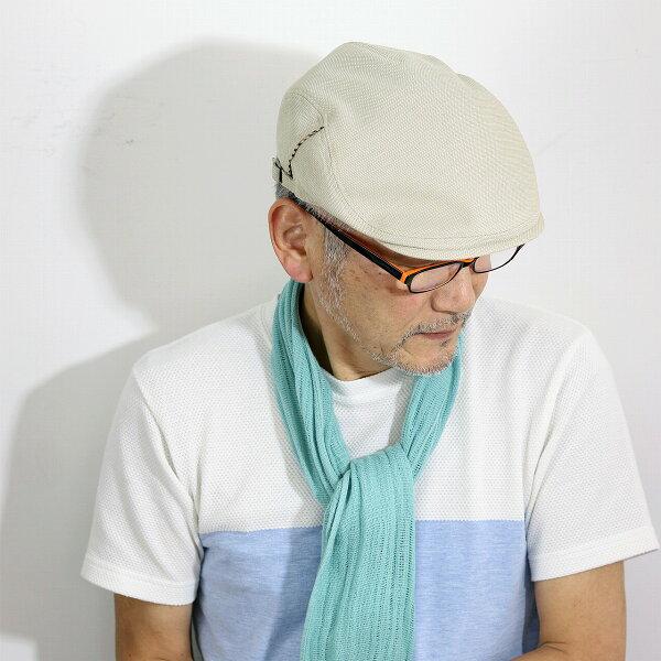 ハンチングメンズ帽子大きいサイズLサイズLLサイズダックス綿麻バーズアイ春夏SサイズMサイズハンチング帽紳士シンプル無地涼しいD