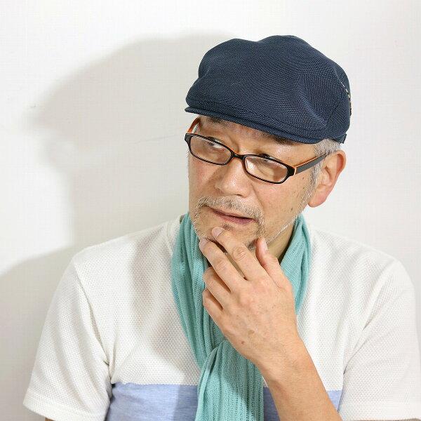 DAKSハンチングメンズ大きいサイズ帽子LサイズLLサイズダックス綿麻バーズアイ春夏SサイズMサイズハンチング帽紳士紺色シンプル