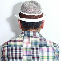 編み柄二色ボーダーハット帽子メンズ春夏STACYADAMSVERNONストローハット涼しいTOYOステイシーアダムス中折れハットインポート麦わら帽子ブランドモチーフ入り/オフホワイト茶ブラウン[strawhat][fedorahat]