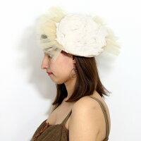 サマーベレー帽BaraironoBoushi春夏日本製帽子レディースベレー帽フリル可愛いサマーニットベレーレースチュールバラ色の帽子ソレイユベレー帽子茶カフェオレ[beret]パーティーコーデファッションウェディング小物