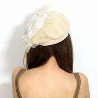 ベレー帽サマーニットレディースBaraironoBoushi春夏日本製帽子フリルレースチュールバラ色の帽子サマーニットベレーミセスソレイユベレー帽子フリーサイズ/ベージュ[beret]パーティーコーデファッションウェディング小物