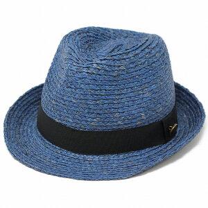 麦わら帽子 メンズ 大きいサイズ 小さいサイズ ハット 中折れハット 麦わら帽子 ラフィア素材 レディース ストローハット 春 夏 帽子 中折れ帽子 ユニセックス 青 ブルー [ straw hat ] [ fedora ] 送料無料 ラッピング無料 父の日 夏
