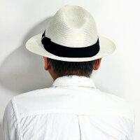 DAKS春夏帽子シゾールメンズ中折れハット光沢59cm軽量ダックスストローハットPARASISOLサイズ調整ファッションサイズ調整可能紳士中折れ帽子麦わら帽子モノトーン/白オフホワイト[fedora]男性誕生日帽子父の日ギフトプレゼント