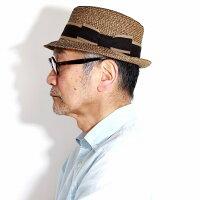 ストローハットボーダーナチュラルGALLIANOSORBATTI帽子ブレードハットレディース中折れ帽子サーモブレード中折れハット紳士春夏イタリア製マニッシュメンズハットベージュ[strawhat][fedorahat]父の日ギフト