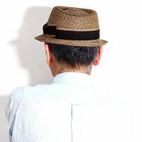 イタリア製ストローハットGALLIANOSORBATTI帽子ペーパーブレードポークパイハット春夏麦わら帽子ブレードハットメンズガリアーノソルバッティハットレディース55.5cm-58.5cm/グログランリボン茶ブラウン[strawhat][pork-piehat]父の日ギフト