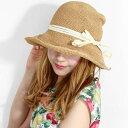 バラ色の帽子 プティクロシェ ストローハット 春 夏 つば広