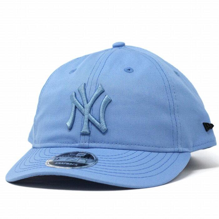 ニューヨーク・ヤンキース ニューエラ NEWERA キャップ Basic Fabrics Retro Crown 9FIFTY 8ozコットン 水色 スカイブルー[ baseball cap ]