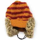 ニットキャップ 耳あて Barairo no boushi 送料無料 帽子 ボーダー イヤマフ付ニット バラ色の帽子 可愛い レディース ニット帽 防寒 耳まであったかい オレンジ [ beanie cap ] 送料無料 2
