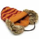ニットキャップ 耳あて Barairo no boushi 送料無料 帽子 ボーダー イヤマフ付ニット バラ色の帽子 可愛い レディース ニット帽 防寒 耳まであったかい オレンジ [ beanie cap ] 送料無料 3