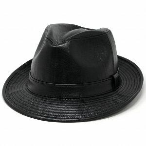 レザーハット 羊革 大きいサイズ 帽子 日本製 マツイ 中折れ帽子 メンズ 秋冬 サイズ調整可 しぼレザー 紳士 高級 ハット 紳士 送料無料 紳士的 ファッション小物 大人 男性 コーデ 小物 革 かっこいい 黒 ブラック [ fedora ]