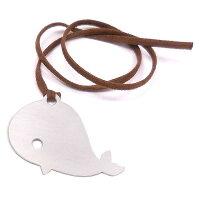 クジラの銀製シルエットブックマーカー