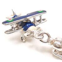 サツルノ:飛行機のシルバーキーホルダー
